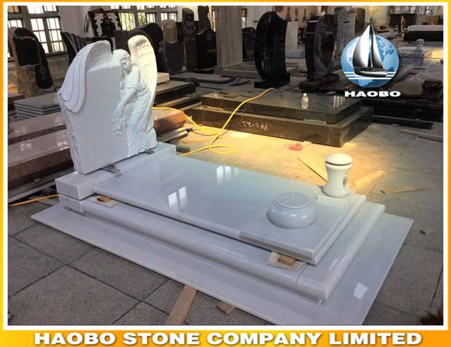 Sitting Angel White Marble Kerbed Tombstone