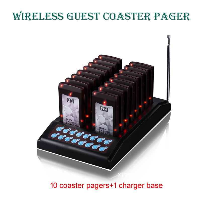 wireless pager,slim bar pager,wireless coaster buzzer pager,waiter buzzer for fast food restaurant