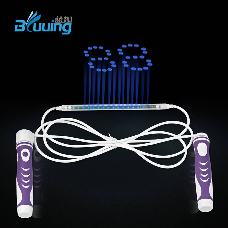 Patent protected unique high quality electronic LED digital count skipping jump rope