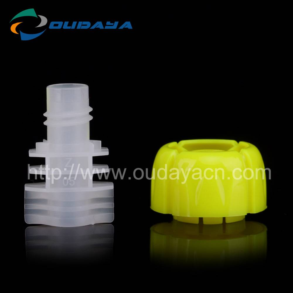Factory hotselling plastic child-proof jelly cap and spout OEM welcomed
