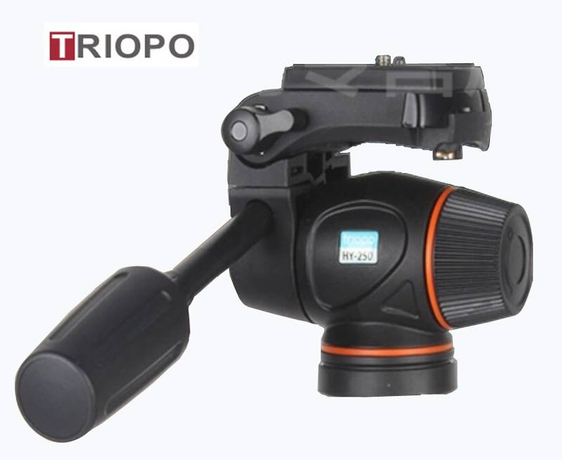 "TRIOPO HY-250 Tripod Head Hydraulic Damping Video Head Tripod 1/4"" 3/8"" Head For DSLR Cannon Nikon C"
