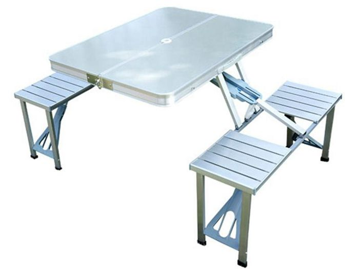 Outdoor Aluminum Portable Folding Camp Suitcase Picnic Table with 4 Seats