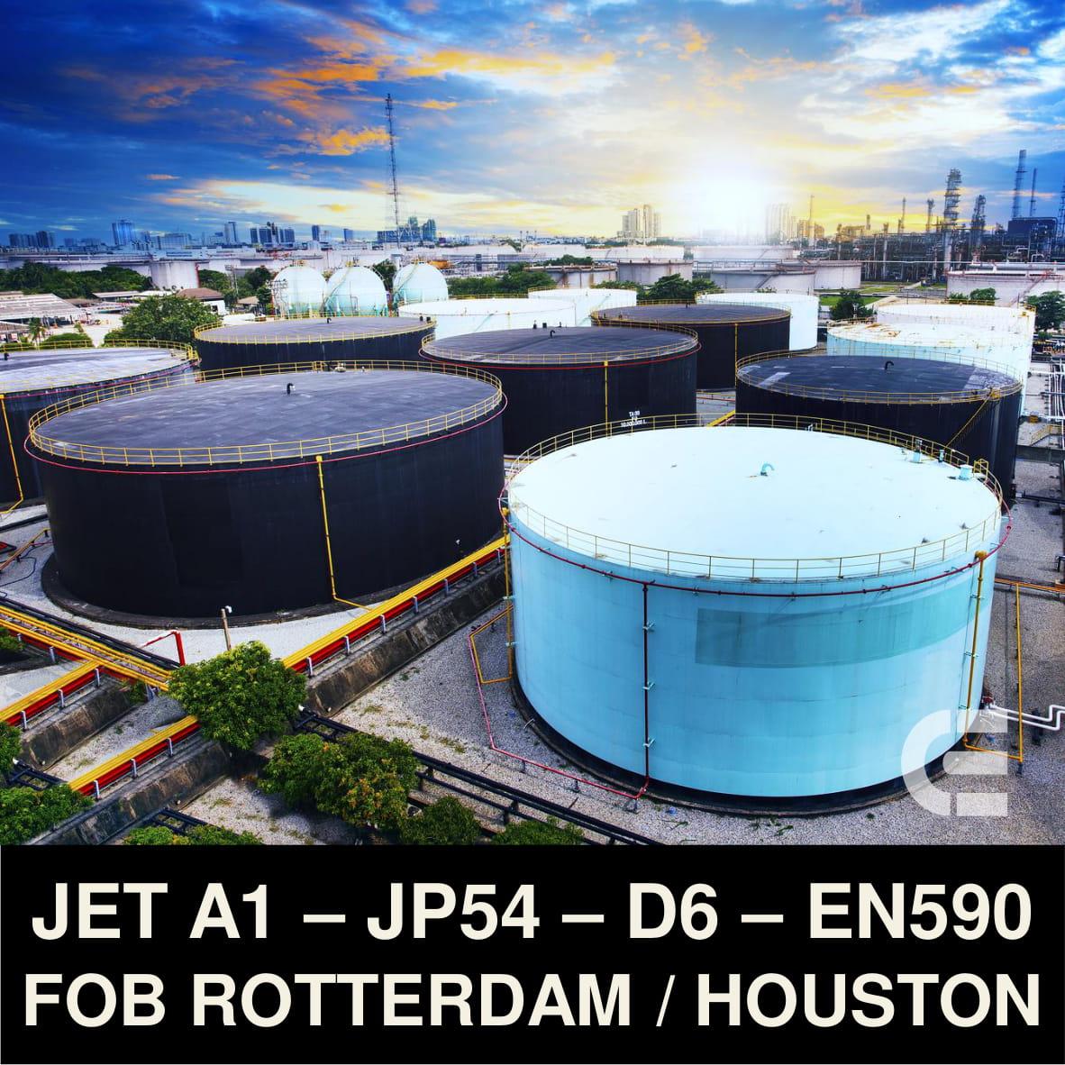 Jet A1 Fuel - JP54 - Virgin Oil D6 - EN590 FOB Rotterdam and Houston
