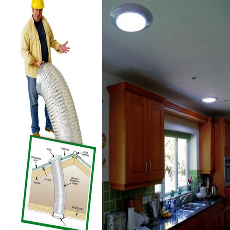customized size flexible non electrical tubular skylight light kit daylight system