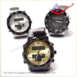 OEM Big Dial Stainless Steel Silicone Sports Band Men Watch Outdoor Hiking Quartz Digital Watch