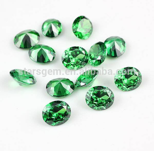 European Machine Cut Emerald Green Color Roud Gemstone