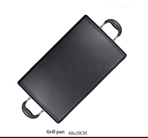 Two ears rectangle flat grill pan with non-sticking coated for camping BBQ