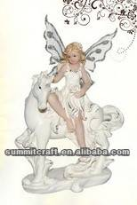 Natural resin 3d sexy fairy girl antique fairy figurines with unicorn