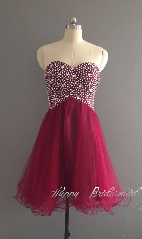 Burgundy Wine Red Tulle Short Homecoming Dress, Prom Dress, Cocktail Dress, Dance Party Dress