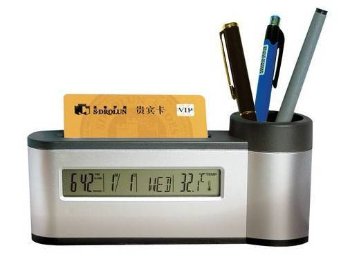 Pen Holder with clock name card