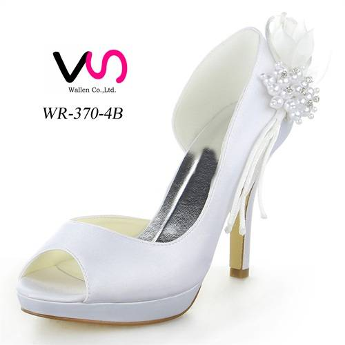 10cm high heel with platform dyeable satin nice bridal shoes