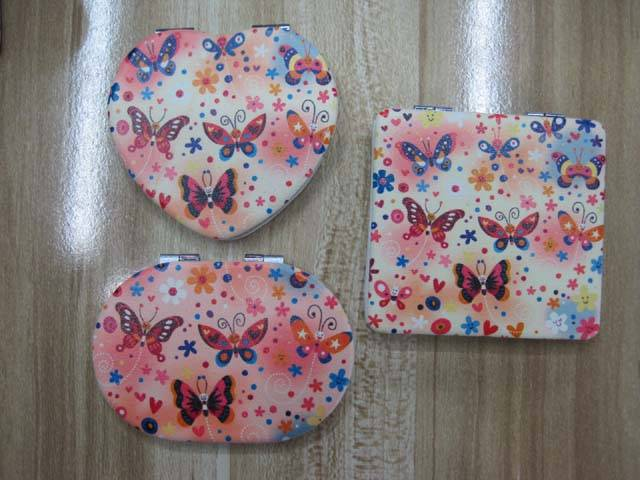 PU Small Butterfly Printed Cosmetic Mirror