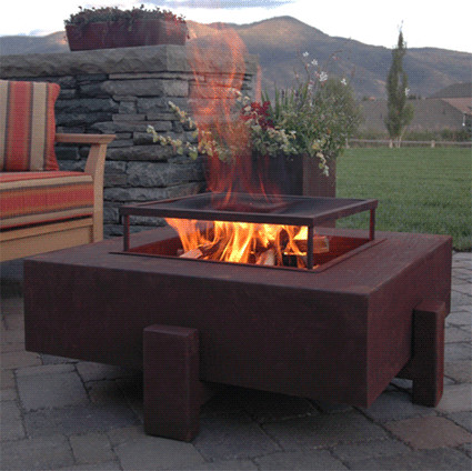 outdoor corten steel fire pit table