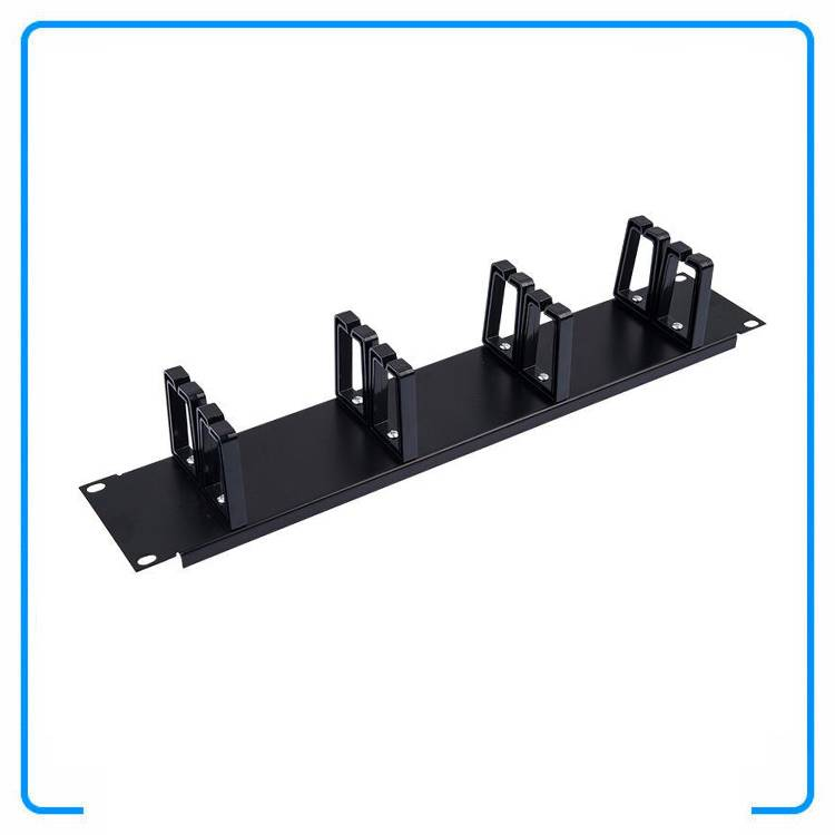 2U Rack Mount 19 Inch 8 Rings Open Frame Black ABS Cable Management Manager Organizer