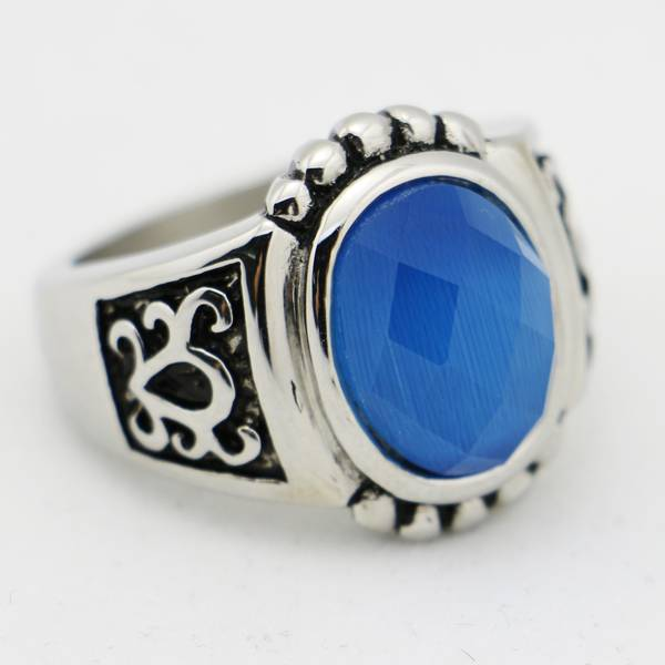 2015 vintage stainless steel blue gemstone rings