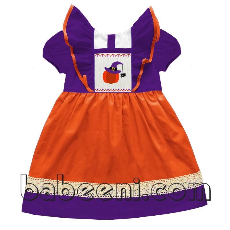 Pumpkin with witch hat smocked dresses - DR 1975