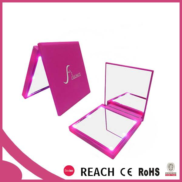 beauty plastic pocket double folding cosmetic mirror with led light