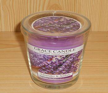 Lavender Scented Candle in a Glass Jar for Home or Restaurant Using