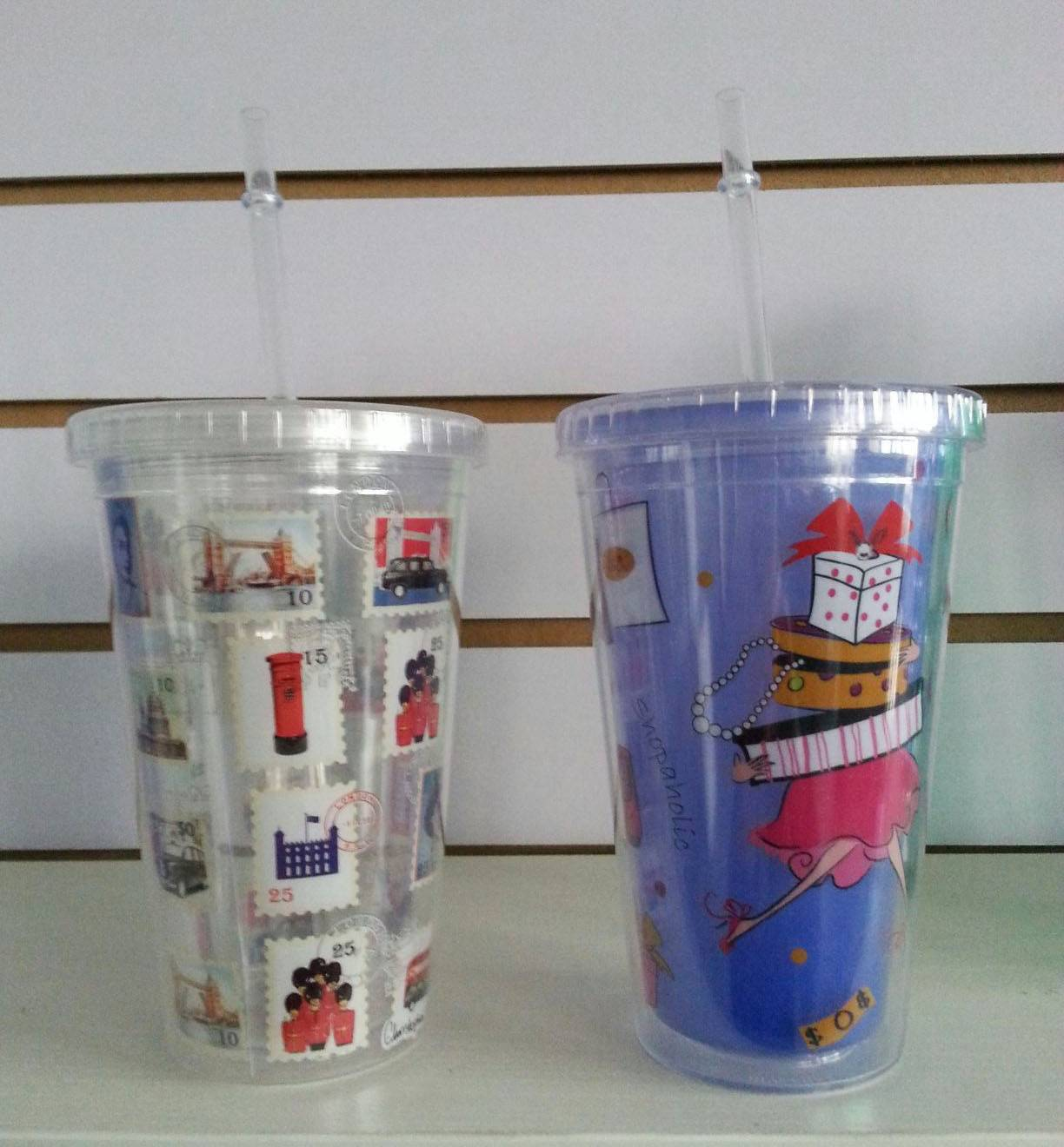 5% discount 16OZ inner printing double wall PS tumbler with straw
