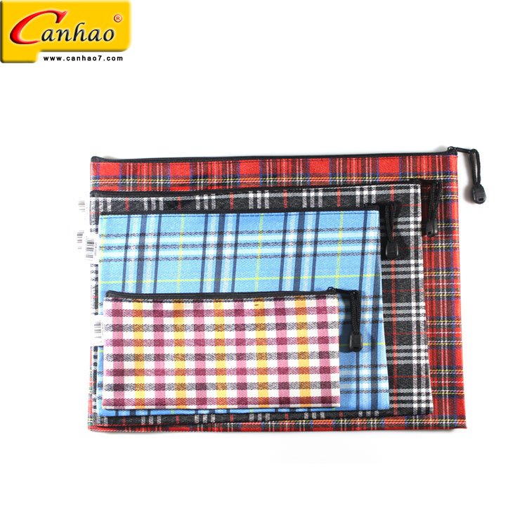 OEM office plaid document ladies canvas file package bag