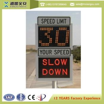 Outdoor LED Warning Sign Solar Power Radar Speed Sign Portable Traffic Flashing Speed Limit Signs