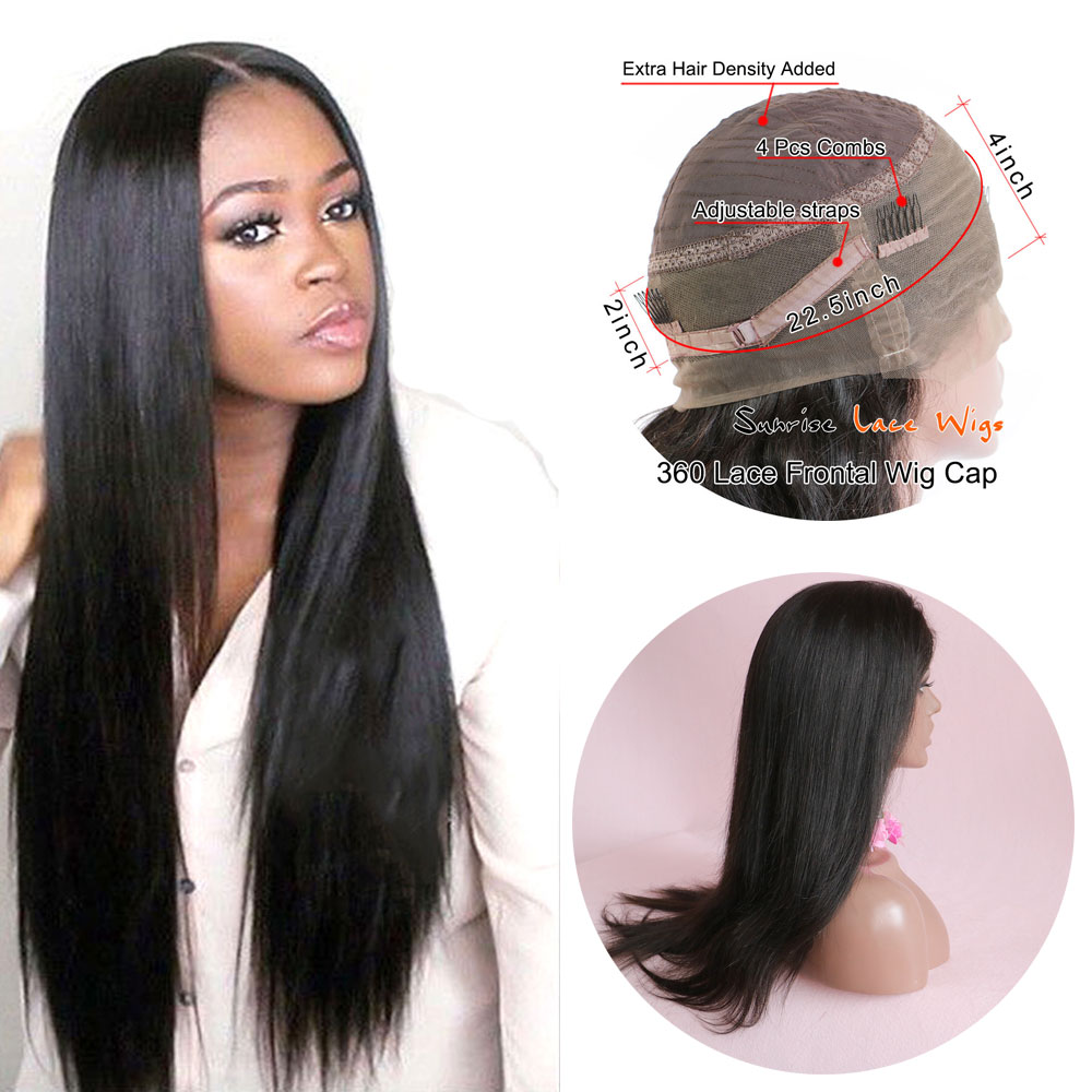 Sunriselacewigs 360 Lace Frontal Wig 180% Density Pre-Plucked Hairline 360 Lace Front Human Hair Wig