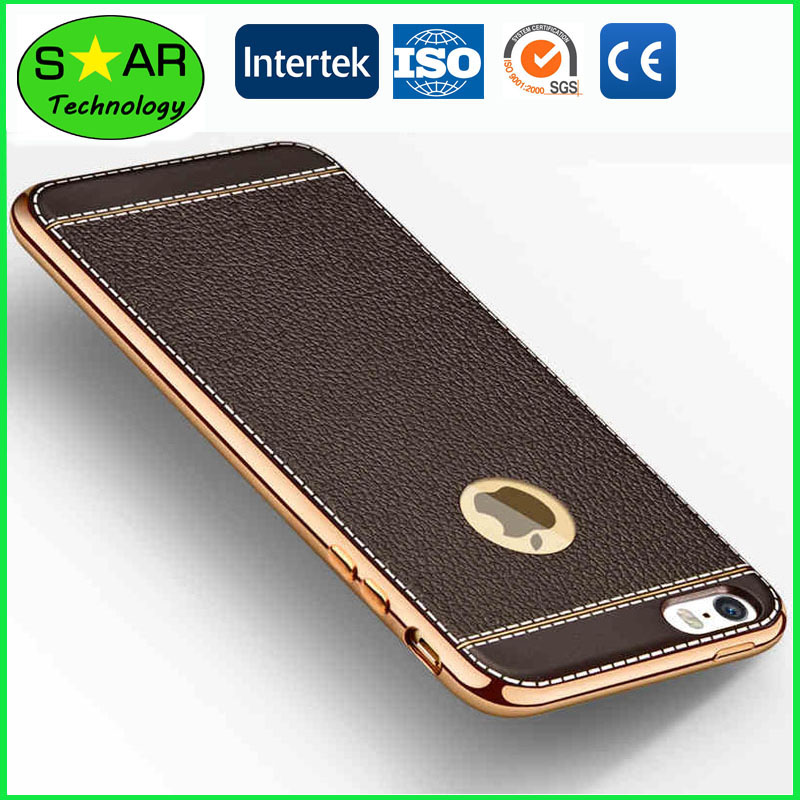 TPU With Litchi Grain Electroplating Phone Case