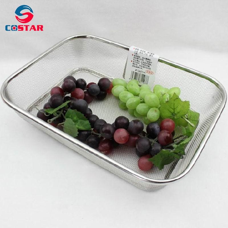 Square rectangular stainless steel strainer basket vegetable wire mesh seive kitchen washing bowl
