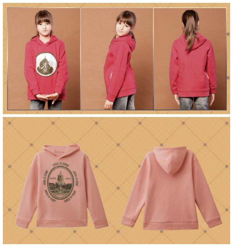 Girl pullover fleece warm hoodie for autumn and winter