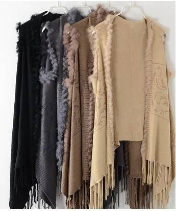 Large Knitted Shawl With rabbit fur Trim