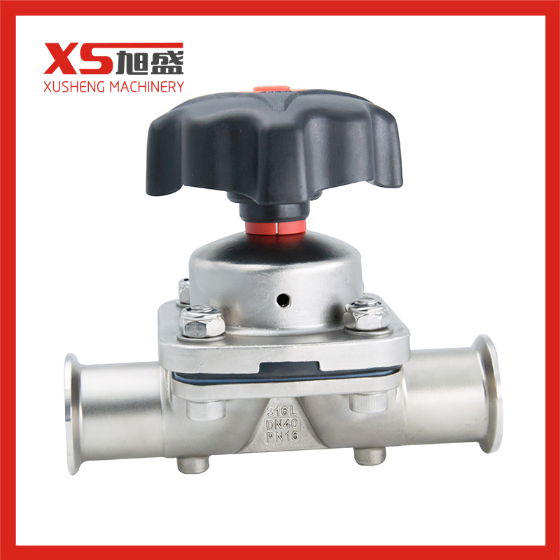 Sanitary Clamp Manual Diaphragm Valves with PTFE + EPDM
