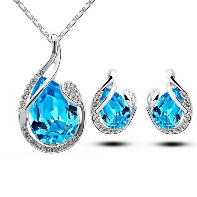 Fashion Women Silver Crystal Necklace Earring Jewelry Set