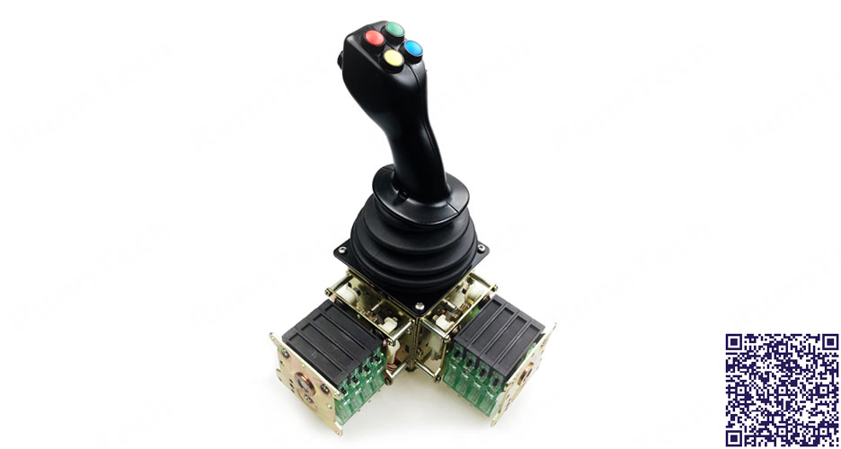 RunnTech 2-axis Cross Gate 5 Steps Joystick with 6 On/Off Pushbutton for Crane Control