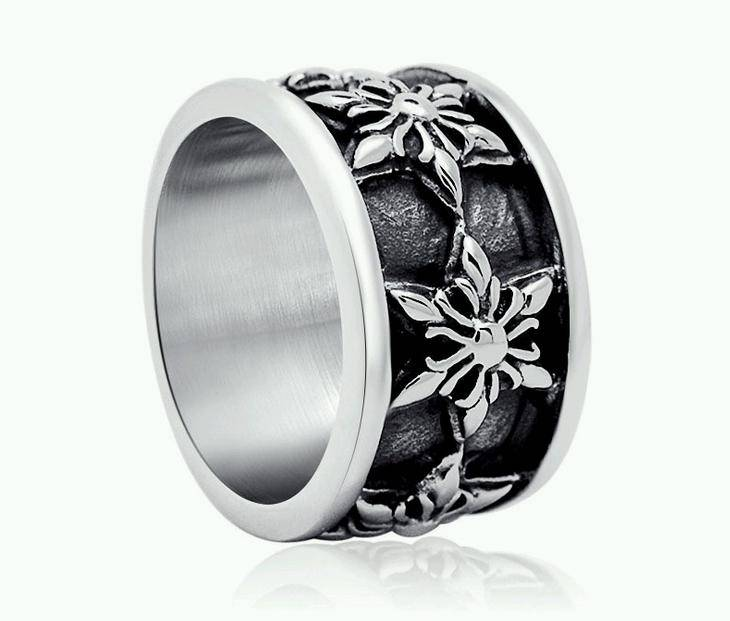 Stainless Steel Snowflake Round Band Bikers Rings