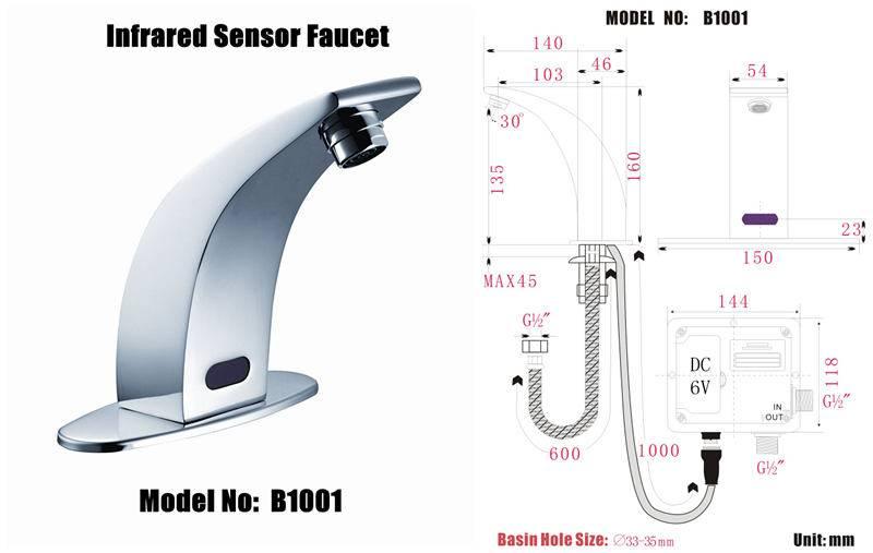 auto sensor taps faucet model :B1001