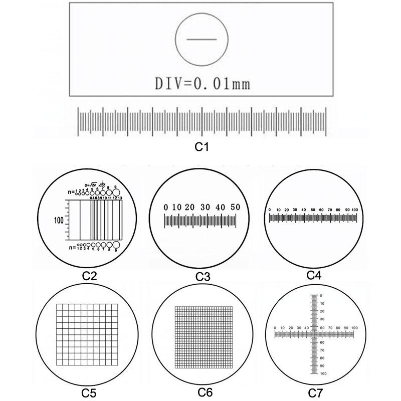 C1-C7 Optical Microscope Calibration Slides Eyepiece Reticle Microscope Micrometer for Eyepiece