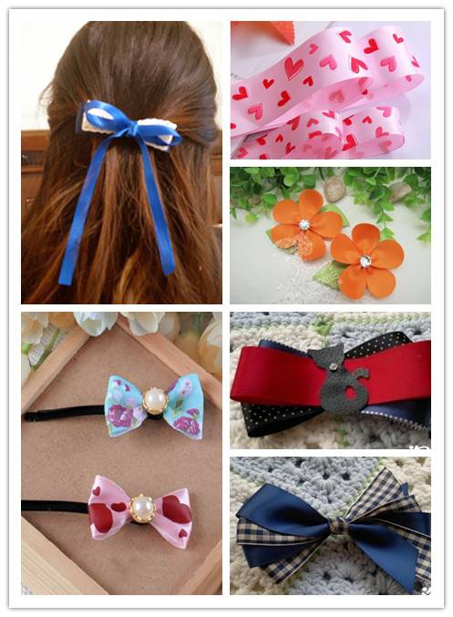 Ribbon of different size and colour for hair clips DIY