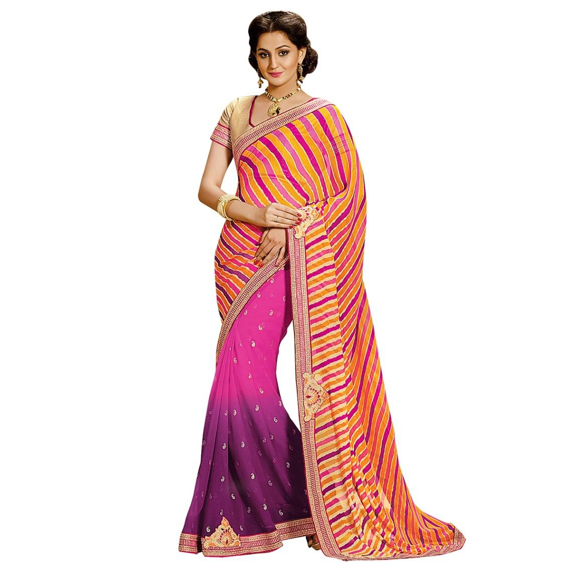 Shonaya Multicolour  Georgette Patch work Sarees With Blouse PieceSGLHR-4823