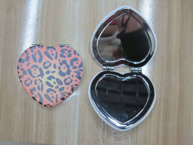 Leopard Print PU Mirror LFM2211 Heart Shape Pocket Mirror