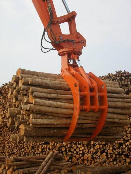 excavator wood grabber