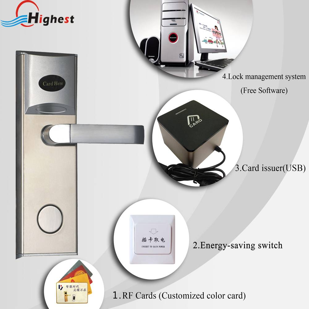 Hotel RFID smart digital hotel smart electric door cylinder lock