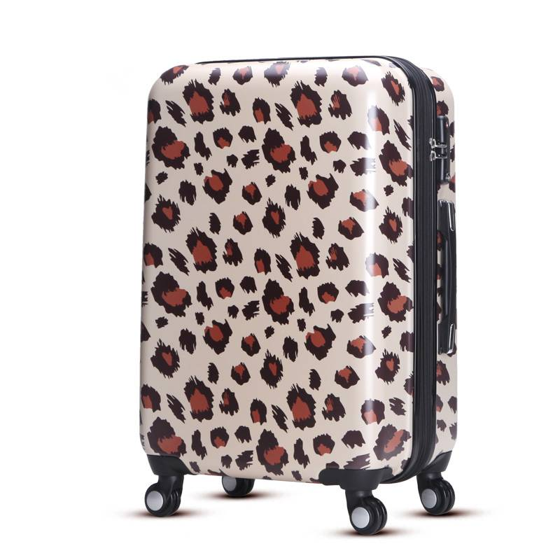 Fashion leopard 20 24 28 inch 3pcs luggage with spinner wheel