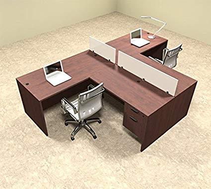 Two Person L Shaped Divider Office Workstation Desk Set, OT-SUL-SP54
