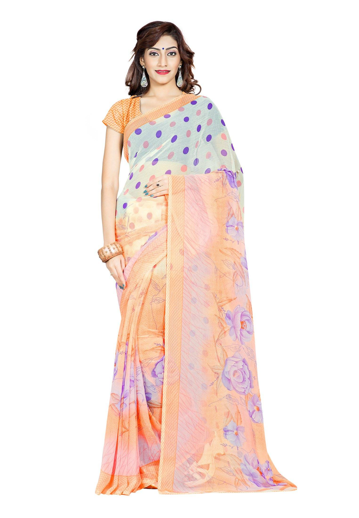 Ambaji Casual Wear Multi Colored Printed Chiffon Saree/Sari