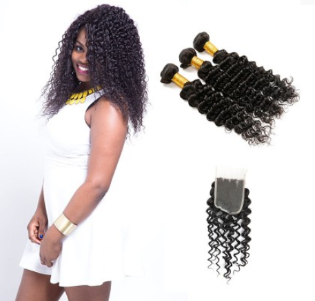 [8A]3 Bundles Indian Deep Wave Hair Weave With Lace Closure