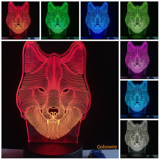 Hot 3D Animal Wolf Decor Night 7 Color Change LED Desk Table Lamp Toy Gift/Wolf Table Desk Lamp