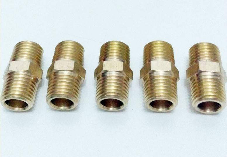 "Pipe fitting brass Hex nipple connector  1/4"" Male NPT Air Fuel Water"