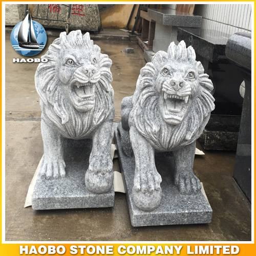 Stone Hand Carved Lions
