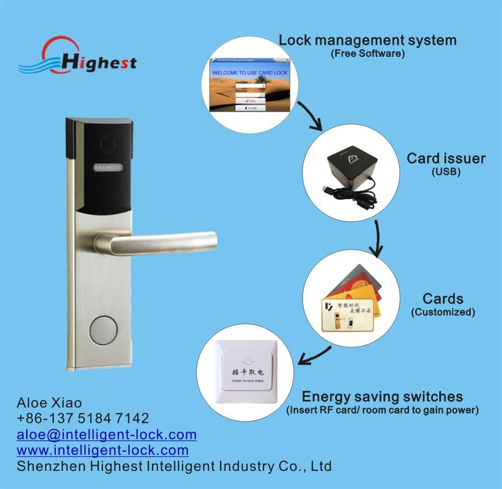 RX118E-Y-S3 Hotel Card door lock by T5577 or mifare card
