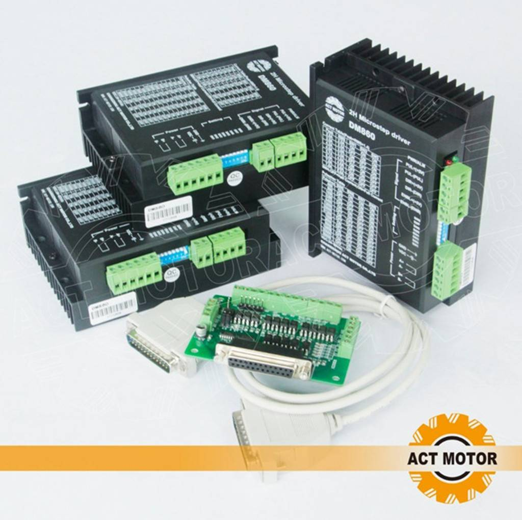 3PCS  ACT DM860 Motor Driver with 1PC Breakout Board and Cable